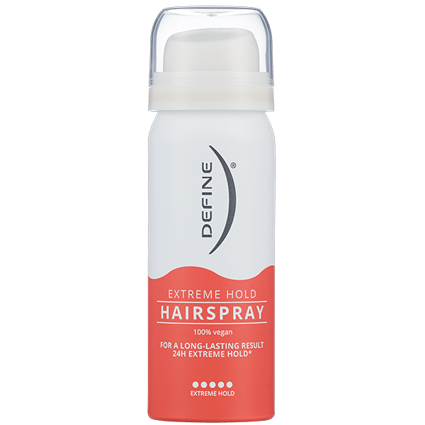 Define Extreme Hold Hairspray. Reisestørrelse. Foto