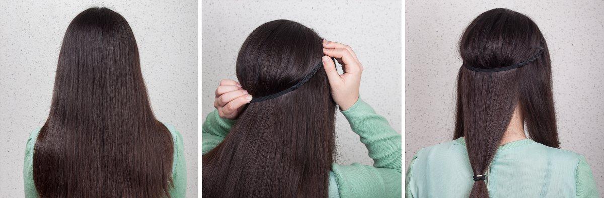 Oppsetning for langt hår. Steg 1-3. Foto