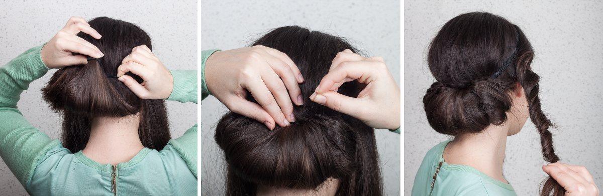 Oppsetning for langt hår. Steg 4-6. Foto