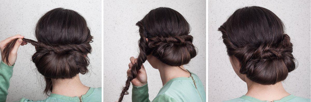 Oppsetning for langt hår. Steg 7-9. Foto